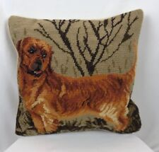 Golden Retriever?? Wool Handmade Needlepoint Decorative Pillow Sham & Insert 14""
