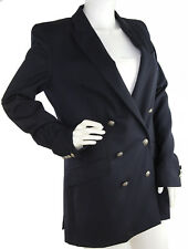 Balmain Fitted Blazer Double Breasted Navy Blue Wool Twill, Size 42, US Size 6