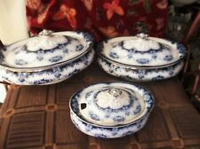 3 X ANTIQUE GILDED BLUE WHITE TUREENS + LIDS ALBION POTTERY BOURNE LEIGH GARLAND