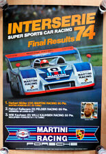 """org Plakat Poster """"Interserie Gesamtsieg 1974 Herbert Müller Martini Porsche 917"""