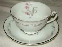 Elaine's Pink Flowers Gray Leaf  China from Japan - 2 Tea Cups and Saucers