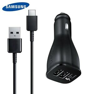 OEM Samsung Fast Charge Dual USB Car Charger + Type C For Galaxy S8 S9 S10 Note