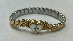 Speidel Vintage Yellow Gold Filled Flexible Childs Bracelet w/ MOP~7.6g~ 5-A1234