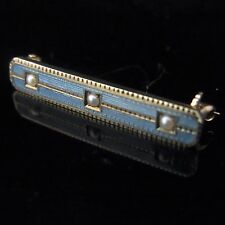 Antique 14k Yellow Gold Blue Seed Pearls Enamel Brooch Pin Vintage Estate