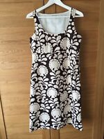 LAURA ASHLEY Ladies Brown Cream Floral Scoop Midi Linen Empire Hippy Dress UK10