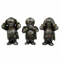 Tres Sabio Caballeros Figuras Hear Ver Speak No Evil Medieval Cruzados en Armour