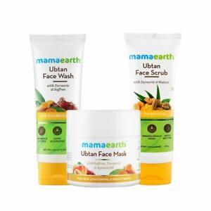 Mamaearth Tan Removal Regimen Ubtan Face Wash Ubtan Face Mask & Face Scrub Combo