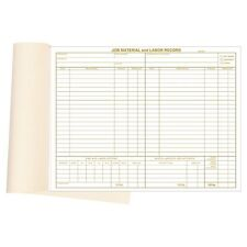 "Material & Labor Records Booked Forms Size: 11 "" x  8 ½  """