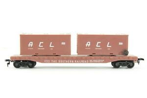HO Life-Like Southern Railway 50ft Flat Car w/ 2 20ft ACL Containers