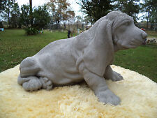 LG SITTING UP BASSET HOUND DOG STATUE Gray Concrete Cement - PENSACOLA FLORIDA