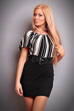 NEW SEXY BLACK & BEIGE STRIPED MINI DRESS WITH BELT 8 - 10 OFFICE/EVENING/PARTY