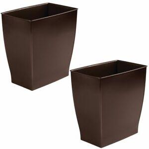 mDesign Plastic Rectangular Trash Can Wastebasket, 2 Pack - Dark Brown