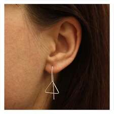 925 Sterling Silver Chain Triangle Thread Threader Earrings