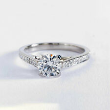 1.20 Cts Perfect Channel Round Cut Diamond Engagement Ring 18k White Gold