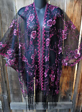 ART TO WEAR GLAM SEQUIN EMBROIDERED SHORT KIMONO JACKET IN FUSCHIA ON BLACK, OS!