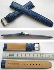 NEU Royal Blau ECHTLEDERUHRBAND 20mm Krokoprägung XL- Überlänge Krokodilprägung