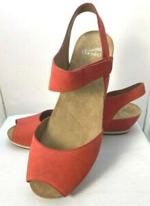 """New Dansko """" Vera"""" Red/Coral Leather Peep Toe Wedge Sandals Size 10.5M"""