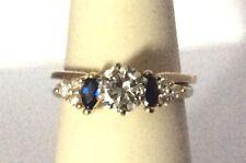 14K Yellow Gold  Sapphire &  Diamond Ring Wrap Enhancer Jacket size 9.75