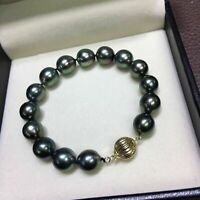 Excellent 10-11mm AAA+ real natural Tahitian black pearl bracelet 14k gold