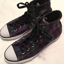 NWT  Youth Girls Converse Chuck Taylor  High Top Sneaker Shoe Sz 3 Purple Plaid