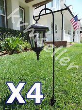 Set of 4 Solar Powered Shepard's Hook Garden Lantern