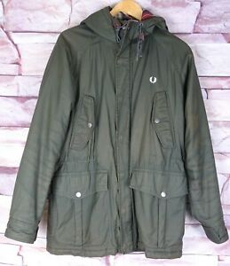 FRED PERRY green zip padded jacket parka hooded medium