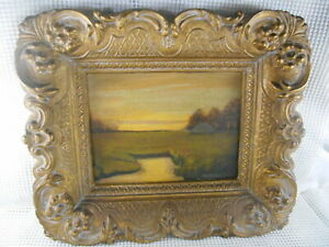 Antique Tonalist Oil Painting SUNRISE SUNSET LANDSCAPE SIGNED Victorian Frame