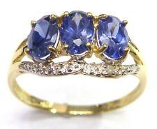 SYJEWELLERY FINE 9CT SOLID YELLOW GOLD LAB-TANZANITE & DIAMOND RING SIZE 7 R978