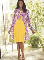 Ashro Formal Yellow Pink Multi Demarie Jacket Dress 8 10 12 14 16W 20W 22W 24W