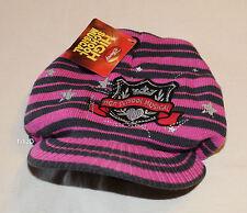 Disney High School Musical Girls Pink Grey Printed Peak Beanie Size 7 - 10 New