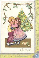 Cartolina - Postcard  - Buon Natale - Bambini e albero  - anni '50