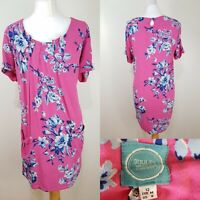 Joules Camelia Ladies Hot Pink Floral Shift Tunic Dress Size 12 Pockets Loose