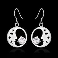 Ohrringe Ohrhänger Kreis Ornament - Silber pl. Mond mit Zirkonia