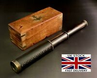 Antique Telescope Handheld Brass Wooden Box Optic Nautical Pirate Scope Spyglass