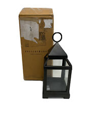 "Pottery Barn Malta Glass & Metal Lantern Bronze Finish Small 10.25"" NEW"