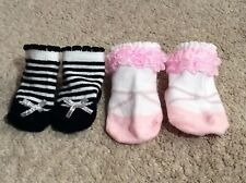 BABY ASPEN Pink & White Ruffle Bootie Sox & Unbranded Black & White Striped Sox.