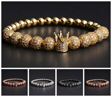 Luxury Mens Copper 8MM Gold Pave CZ Cubic Zirconia Crown Beaded Bracelet Jewelry