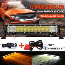 17Inch 1320W Dual Color Quad Row LED Work Light Bar Amber White Strobe Fog 23/24