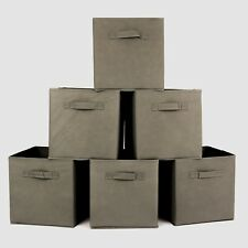 6X Foldable Canvas Storage Collapsible Folding Box Fabric Cube Cloth Basket grey