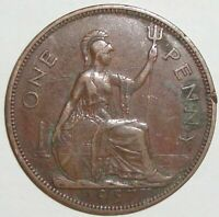 1937 GREAT BRITAIN UK 1 ONE PENNY GEORGE VI WORLD COIN NICE!