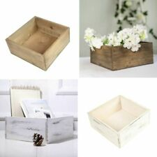 9 inches Natural Wood Rustic Square Planter Boxes Holders Centerpieces Wedding