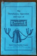 Empire Milking Machines, Empire Cream Seperator Co, Bloomfield, NJ 1918 Manual