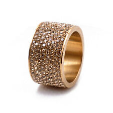 8-Row Micro Pave Gold Crystal Eternity Stainless Steel Ring Size 9