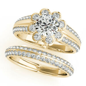 Sale 1.7 Ct Diamond Engagement Ring Set Solid 14K Yellow Gold Band Size 5 7 8