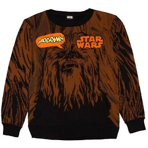 Star Wars Chewbacca RROOOWR! Sweater Black Brown Crew Neck Pullover Kids M