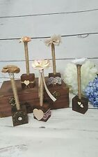 Rustic guest book pen holder wood with personalized initials/Wedding Pen Holder