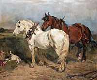 "John Emms, TWO WORK HORSES AND RESTING DOG,Hound, antique, 20""x16"" ART PRINT"