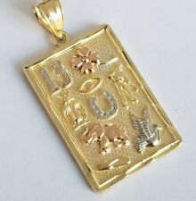 Solid Real 10k Yellow Gold good luck Pendant Charm 3 cm long