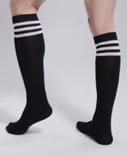 Mens Black & White Stripe Socks Fetish Gay Club Wear Football Sports Stockings