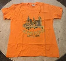 Men's Hong Kong Skyline Graphic T-shirt XL Orange NEW With Tags